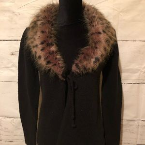 Fur collared black sweater